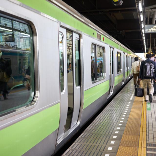 """""""A Tokyo subway train at a station."""" stock image"""