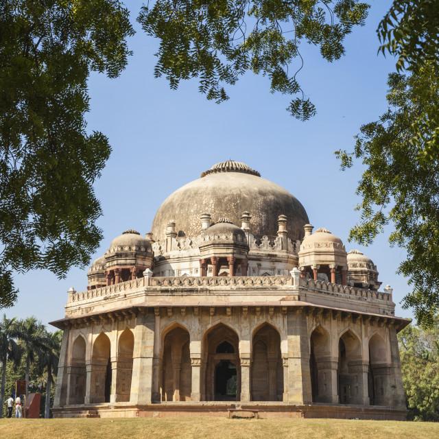 """India, Delhi, new Delhi, Lodi Garden, Mohammed Shah's Tomb"" stock image"