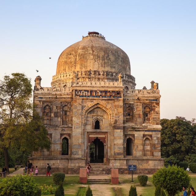 """""""India, Delhi, new Delhi, Lodi Garden, Shish Gumbad Tomb"""" stock image"""