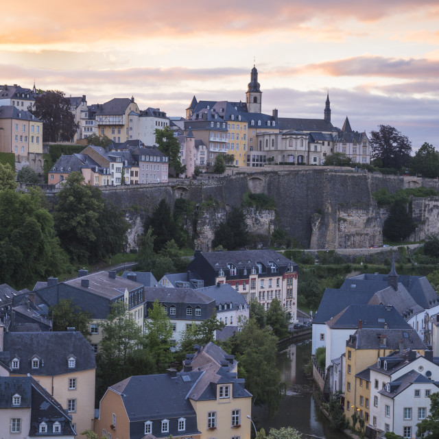 """""""Luxembourg, Luxembourg City, View over the Grund - the lower town towards The..."""" stock image"""