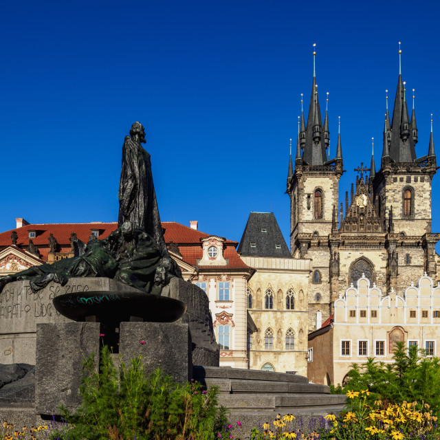 """Jan Hus Monument and Church of Our Lady before Tyn, Old Town Square, Prague,..."" stock image"