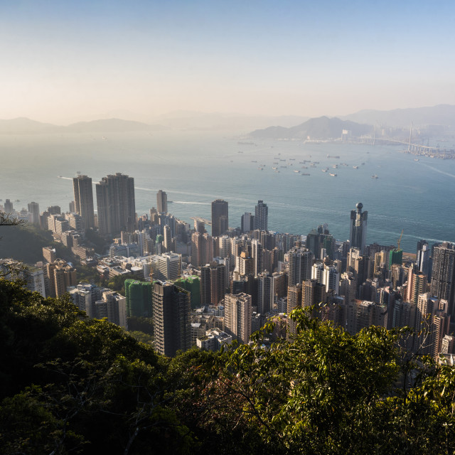 """""""View over Victoria Harbour at sunset, seen from Victoria Peak, Hong Kong..."""" stock image"""