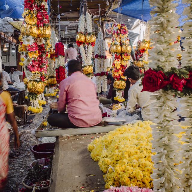 """""""India, Karnataka, Mysore, Devaraja flower market"""" stock image"""