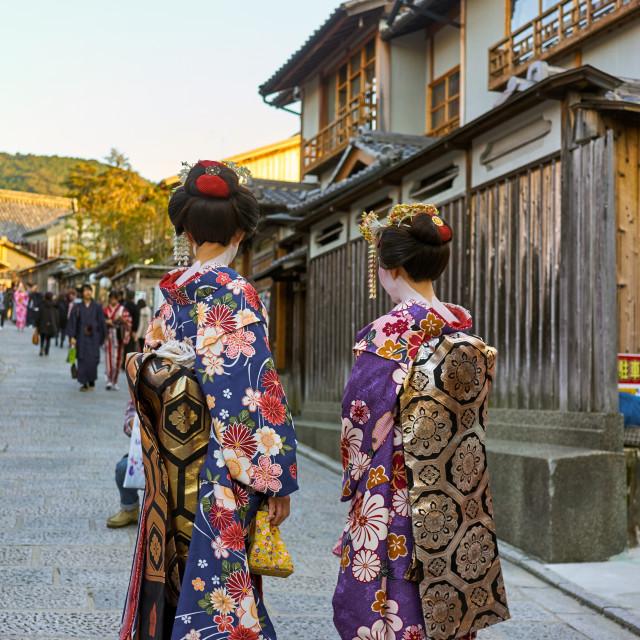 """Geishas wearing kimonos in Gion, Kyoto."" stock image"