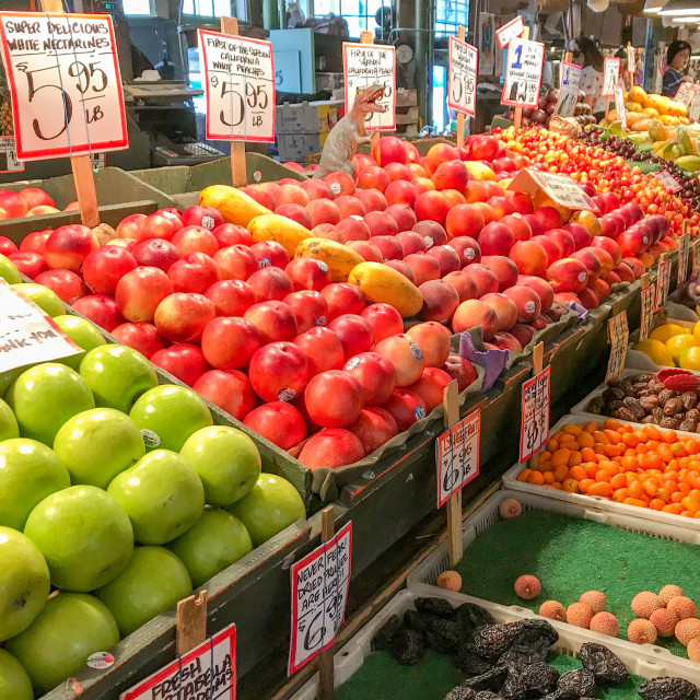 """Fresh fruit in Pike Place Market, Seattle."" stock image"