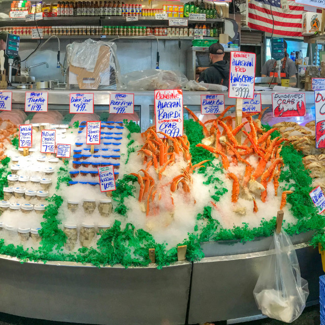 """Fresh fish stall in Pike Place Market, Seattle."" stock image"