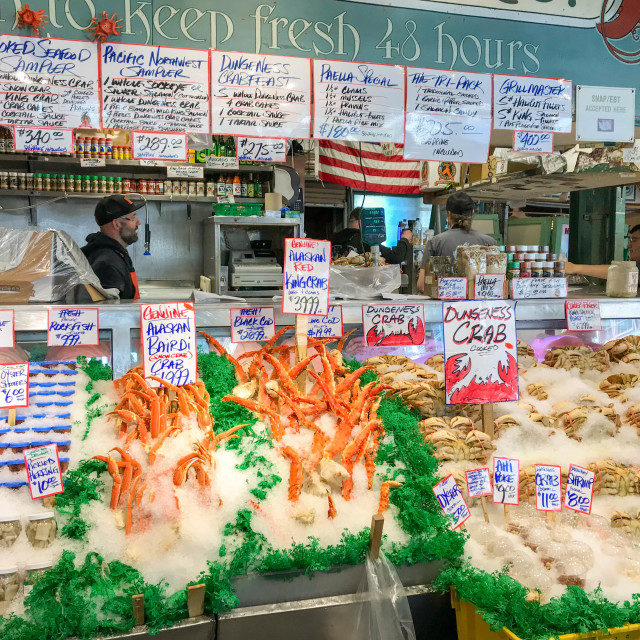 """Fresh fish in Pike Place Market, Seattle."" stock image"