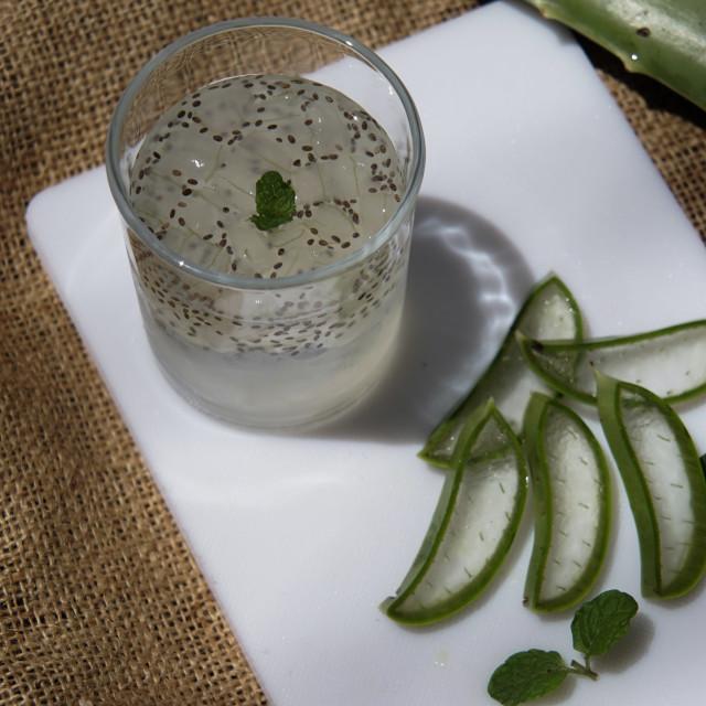 """Fresh aloe vera with chia seeds."" stock image"