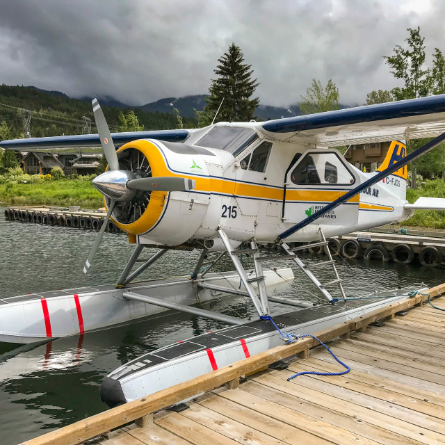 """""""De Havilland Beaver aircraft operated by Harbour Air"""" stock image"""