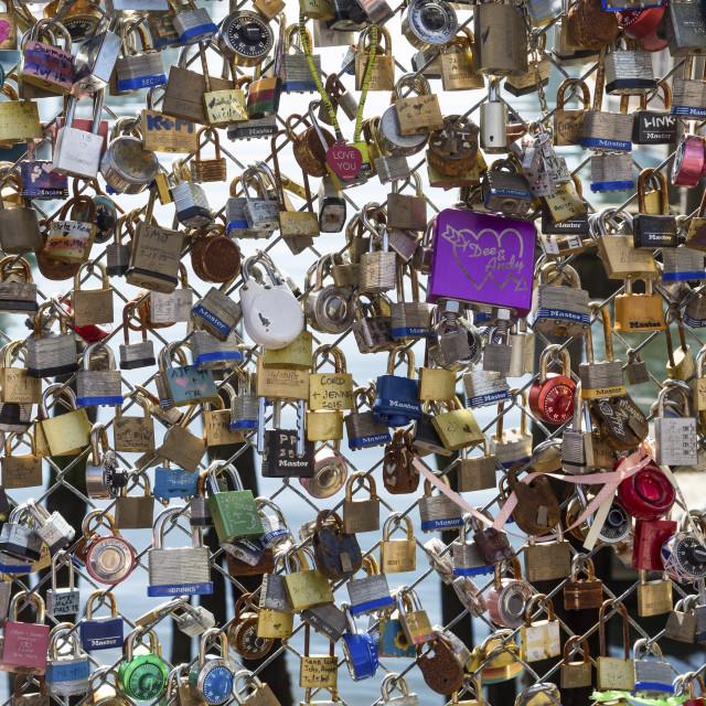 """""""Love Locks in Portland"""" stock image"""
