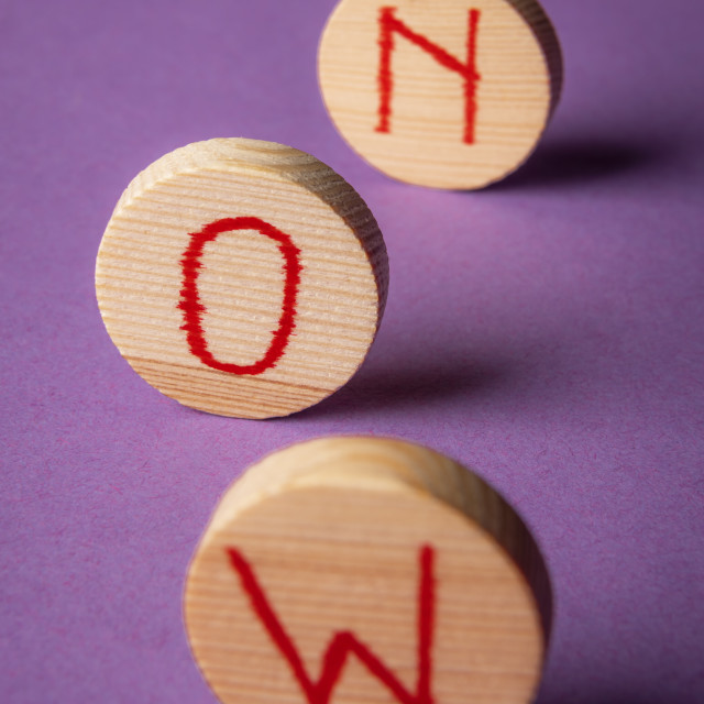 """""""Word now on wooden pieces. Seize the moment. Purple background."""" stock image"""