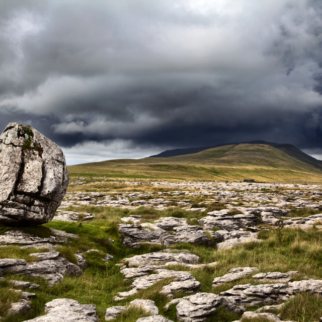 """Standing Stone and Whernside Yorkshire Dales"" stock image"