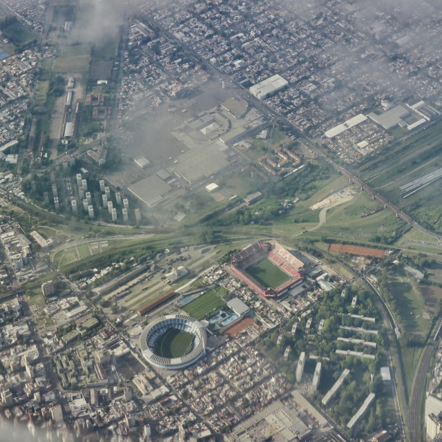 """""""Football stadiums from the air"""" stock image"""