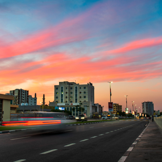 """""""Ras Al Khaimah downtown roundabout by the creek in northern emirate of the United Arab Emirates"""" stock image"""