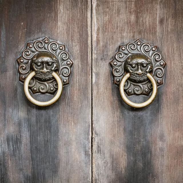 """""""Door knockers Yu Garden"""" stock image"""