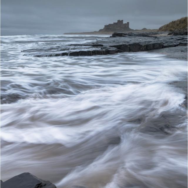 """""""Stormy Seas, Bamburgh"""" stock image"""