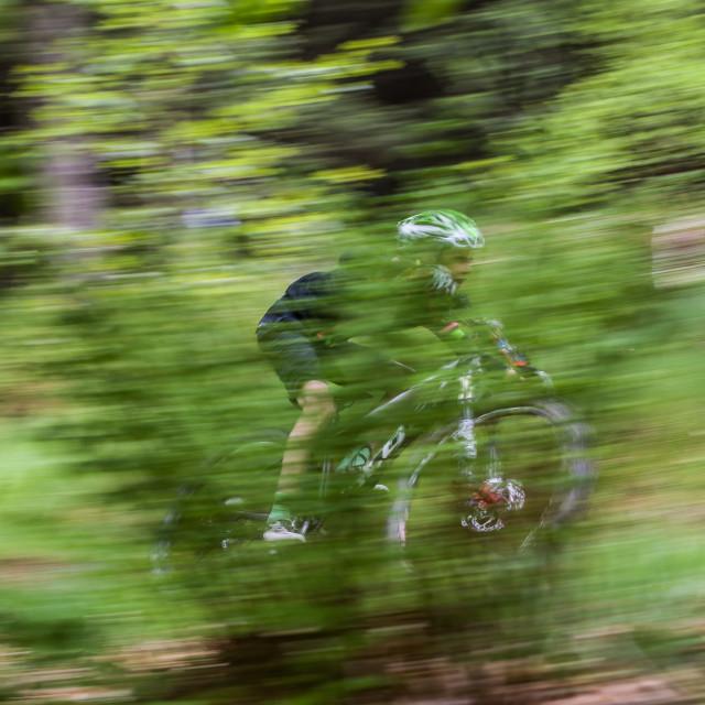 """Speeding Mountain biker"" stock image"