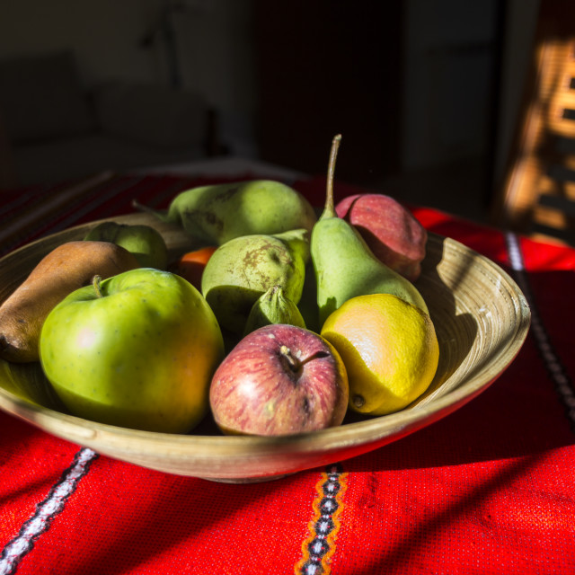 """Still life - bowl of fruits and sunlight"" stock image"