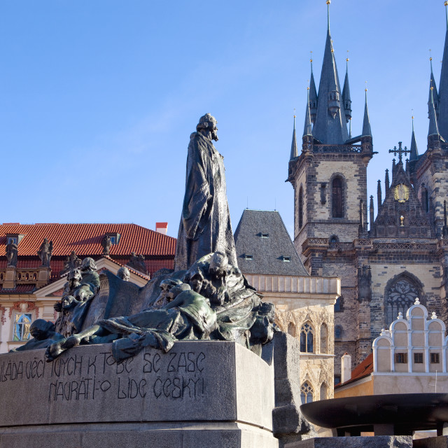 """Prague - Tyn Church and Jan Hus Memorial at The Old Town Square."" stock image"