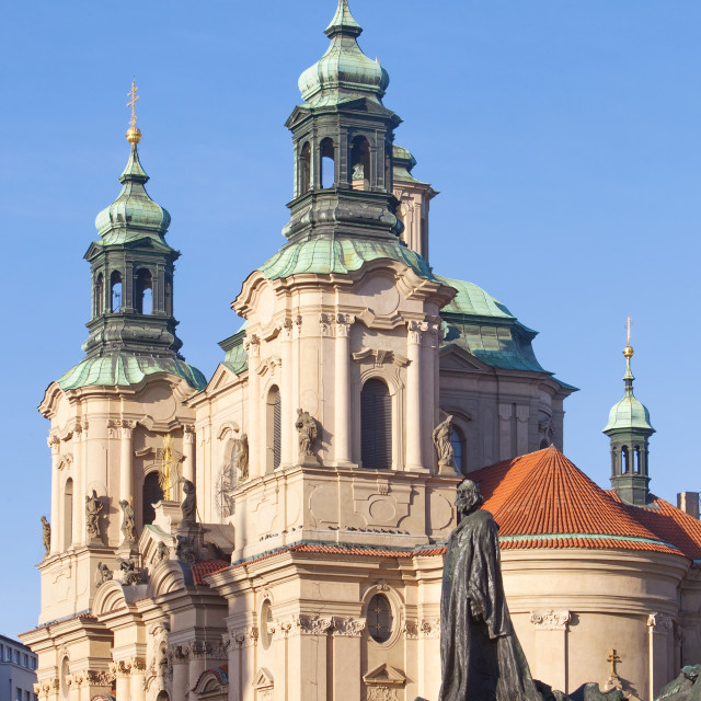 """Prague - St. Nicolas Church and Jan Hus Memorial at The Old Town"" stock image"