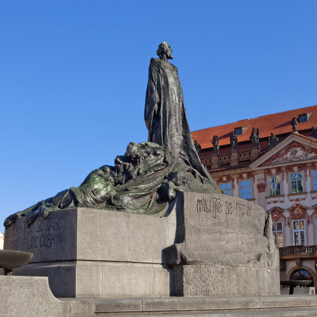 """Prague - Beautiful Houses and Jan Hus Memorial at The Old Town S"" stock image"