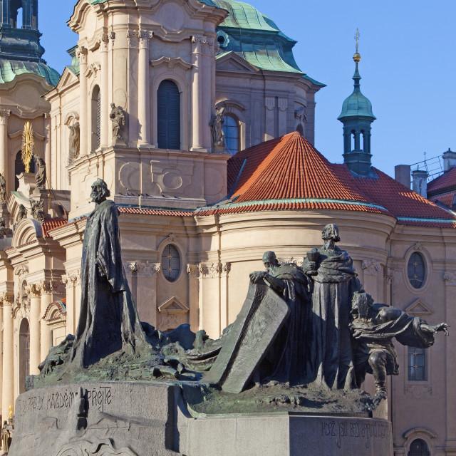 """Prague - St. Nicolas Church and Jan Hus Memorial at The Old Town"" stock image"