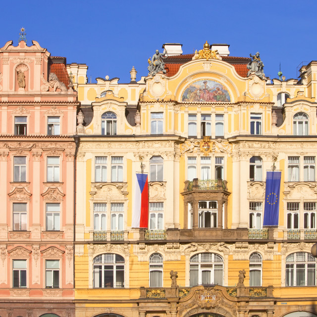 """Czech Republic, Prague - Beautiful Houses at The Old Town Square"" stock image"