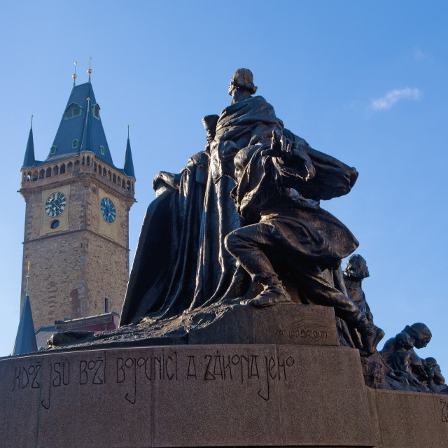 """Prague - Town Hall Tower and Jan Hus Memorial at The Old Town Sq"" stock image"