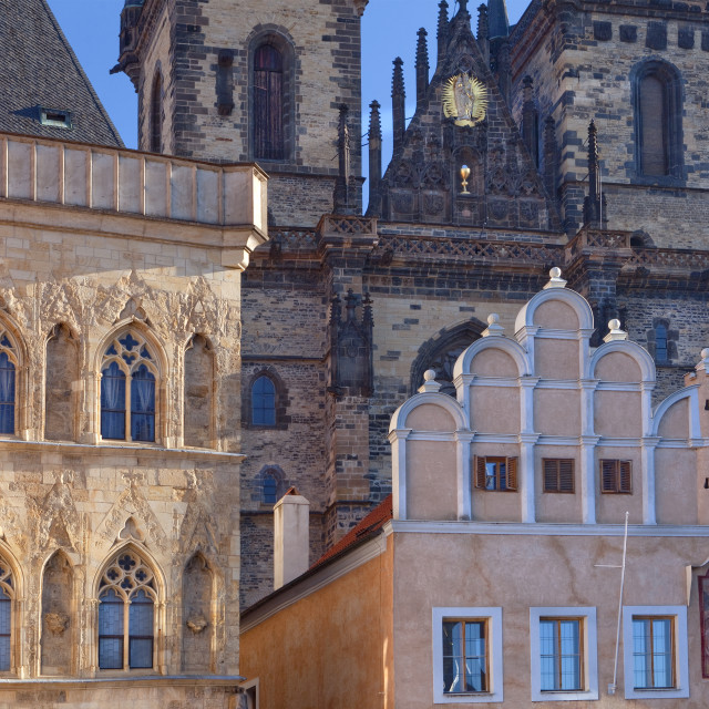 """Czech Republic, Prague - The Old Town Square and Tyn Church"" stock image"