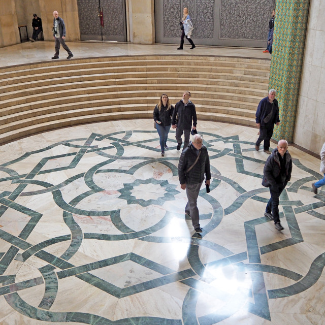 """""""Tourists visiting the Hassan II Mosque."""" stock image"""