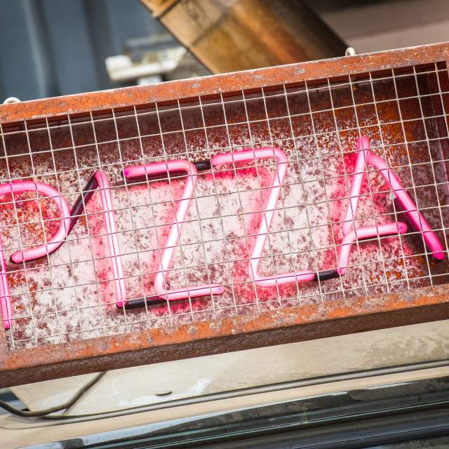 """neon pizza sign"" stock image"