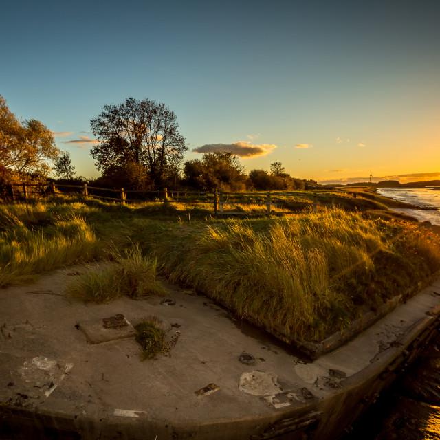 """Historic tidal river bank erosion protection scheme at Purton Hulks, Gloucestershire, UK."" stock image"