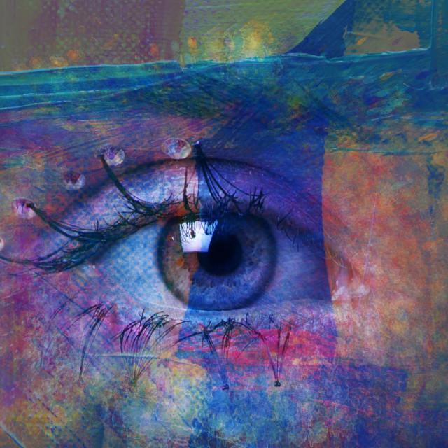 """closeup of woman eye composite photo"" stock image"