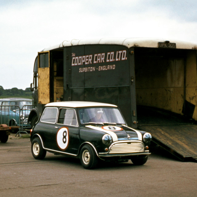 """Works Mini Cooper and Transporter Silverstone 1963"" stock image"