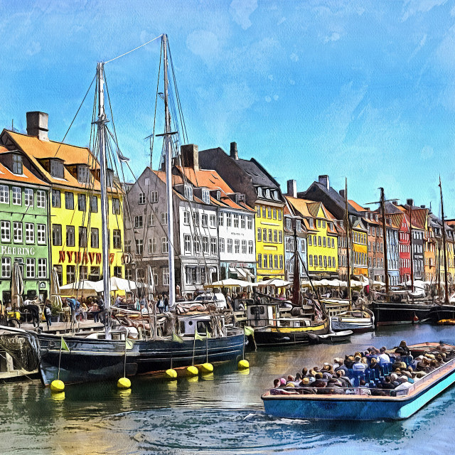 """The canals of Copenhagen"" stock image"