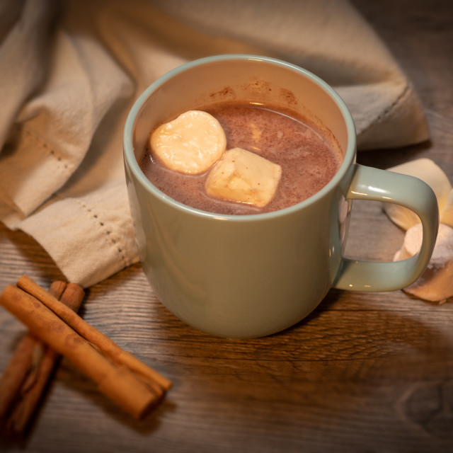 """""""Hot Chocolate with marshmallows and cinnamon sticks."""" stock image"""