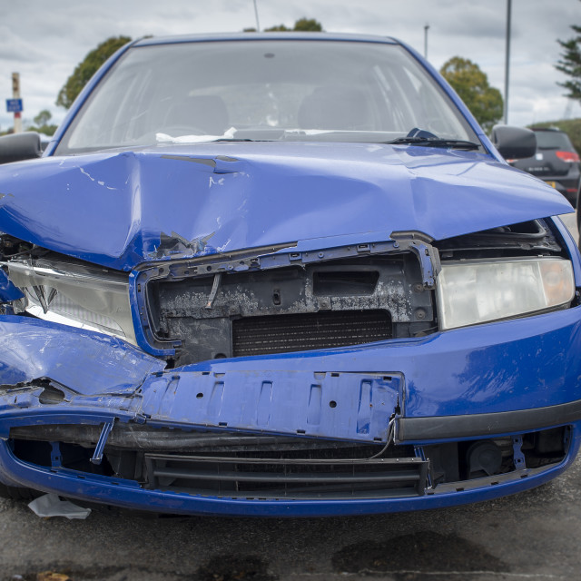 """""""front of car that has been in a car crash"""" stock image"""