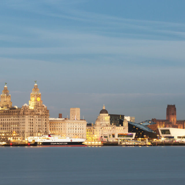 """Liverpool skyline blue hour"" stock image"