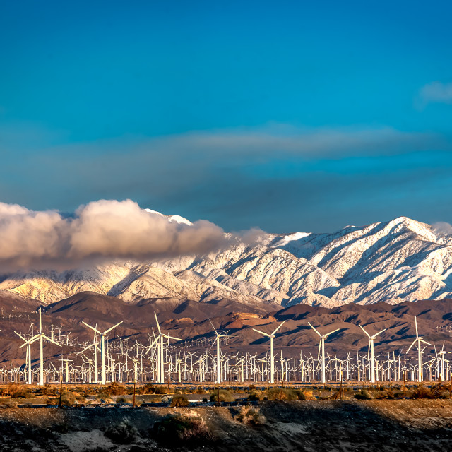 """North Palm Springs Windmills"" stock image"