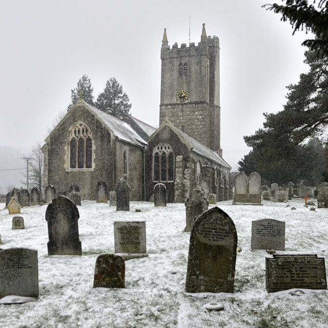 """A rural country church in Winter snow."" stock image"