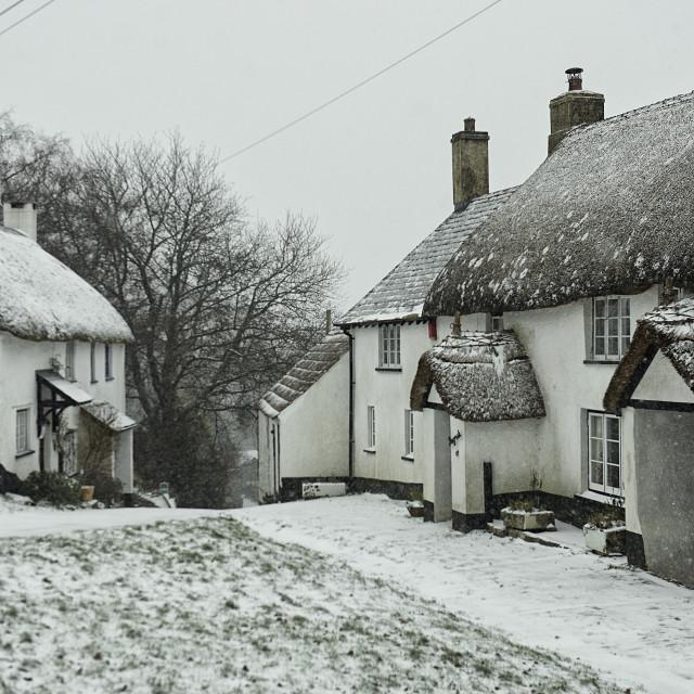 """""""An English village lane in Winter"""" stock image"""