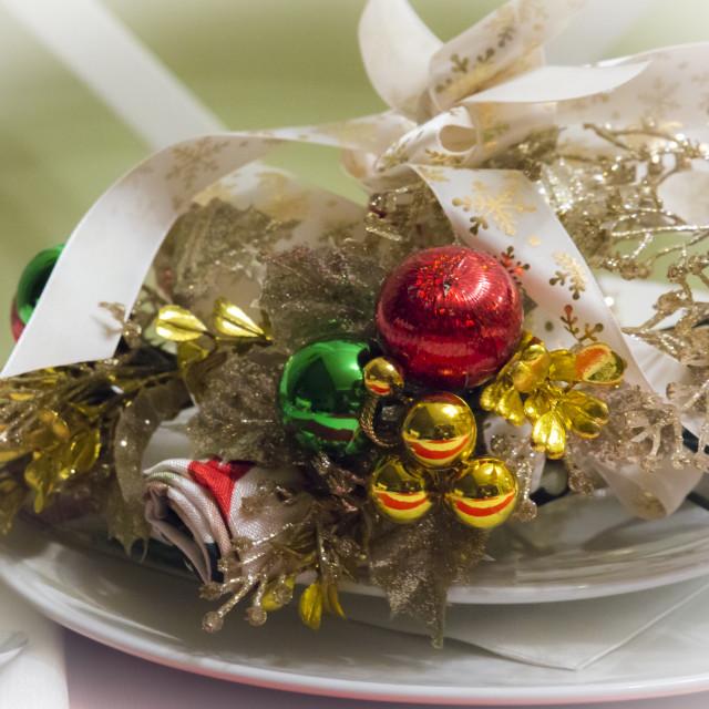 """""""Christmas Table Setting"""" stock image"""