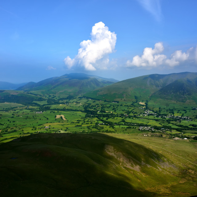 """The green fields of Threlkeld"" stock image"