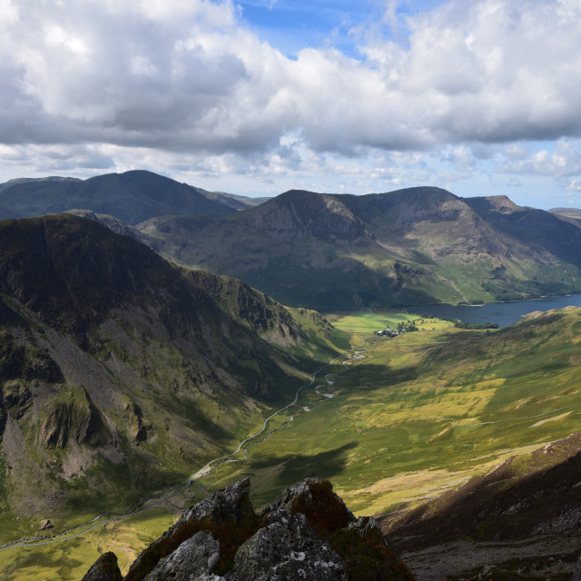"""Buttermere from Dale Head"" stock image"