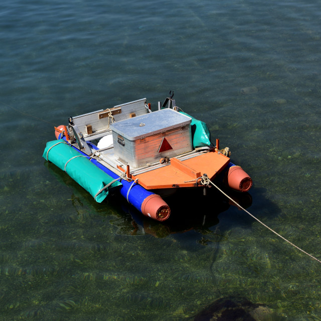 """Colourful home made fun dinghy"" stock image"