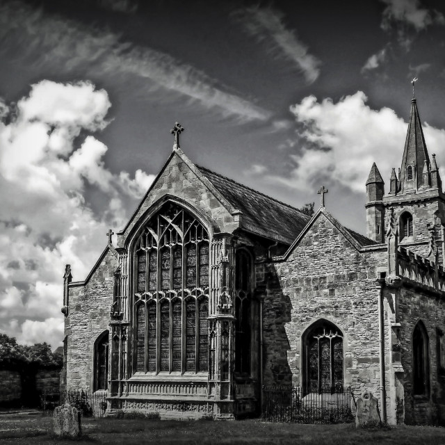 """St Lawrence's Church (b/w)"" stock image"