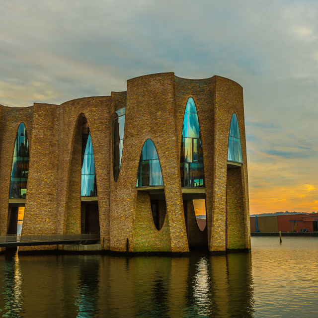 """waterfront building in Vejle harbor"" stock image"