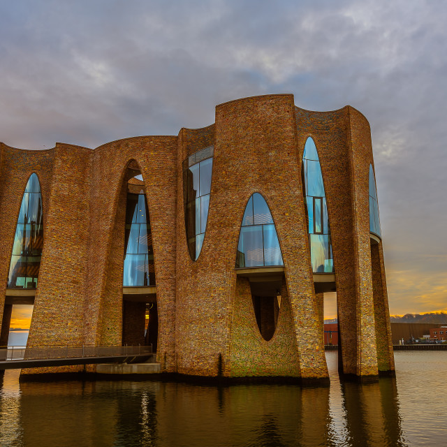 """""""New iconic building in Vejle harbor"""" stock image"""