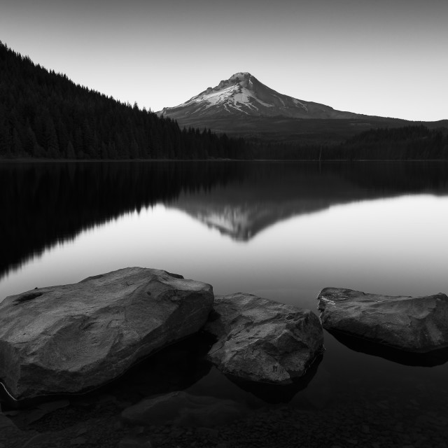 """The Mesmerizing View Of Mt. Hood -- black and white"" stock image"