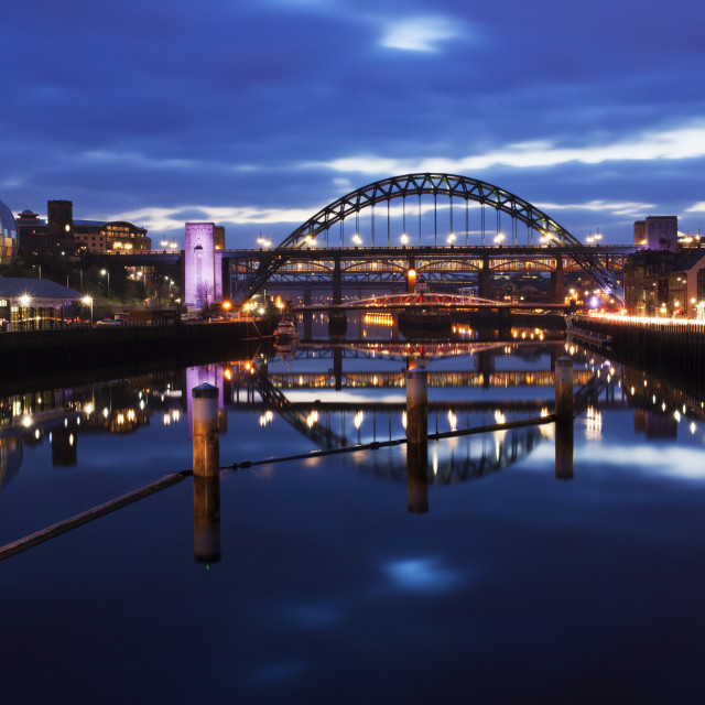"""Tyne Bridge at Dusk Newcastle Gateshead"" stock image"